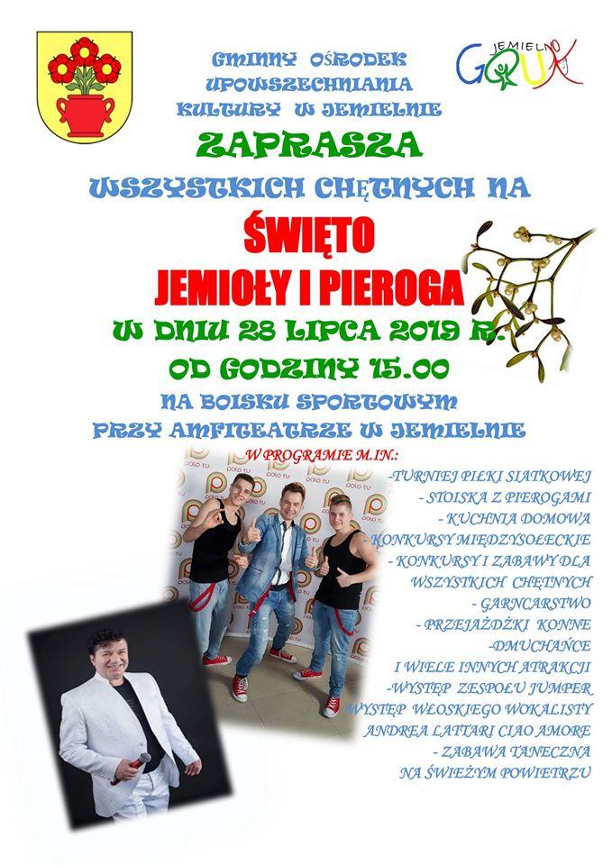 Plakat Święto Jemioły i Pieroga w Jemielnie 28.07.2019