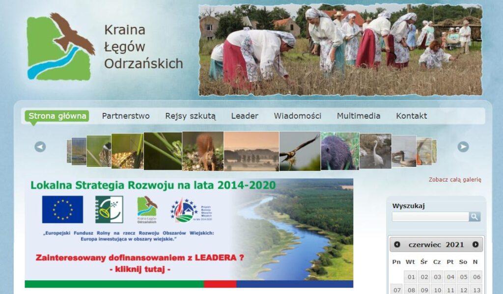 zrzut strony startowej - archiwalnej strony www Lokalnej Grupy Działania Kraina Łęgów Odrzańskich